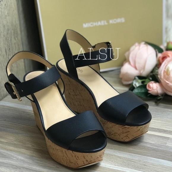 e247053e80 Michael Kors Shoes | Xaria Wedge Leather Black W Authentic | Poshmark